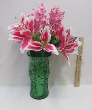 Vintage E O Brody Deep Green Glass Vase w/ Pink Silk Flower Arrangement