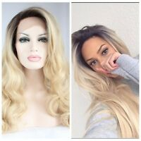 Hair Lace Front Wig Long Curly Wavy Full Wig Black Ombre Blonde Synthetic