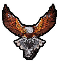 Storm Clouds Eagle ENGINE EMBROIDERED 12 INCH IRON ON MC BIKER  PATCH