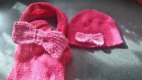 hat&scarf set,2/3 yrs,pink,acrylic.