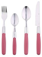 Renberg 24 Piece Stainless Steel Cutlery Set with Red & White Striped Handles