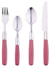 Renberg 24 pezzi Set di posate in acciaio INOX con Rossa e Bianca a Righe Maniglie