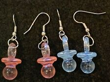 BABY PACIFIER Dangle Earrings Stainless Hook Precious Pink Blue 2 prs set Reveal