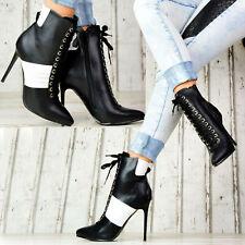 Neu Damen Stiefeletten Pumps Leder Look Schuhe Party High Heels Stilettos SeXy