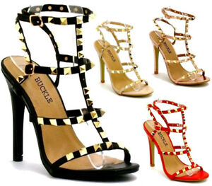 UK Women's Studded Ankle Strap High Heels Rivet Gladiators Pointy Sandals Shoes