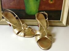 Christian LOUBOUTIN Strappy sandles - in gold leather heels. - US 7