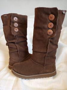 SKECHERS 'Australia' Big Button Brown Suede Faux Fur Lined Slouch Boots- Sz 7.5