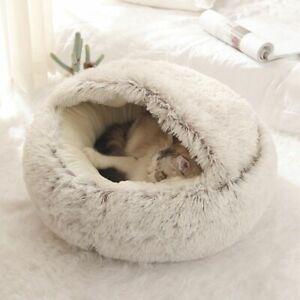 Semi Enclosed Bed Nest Basket Dog Cat Pet Mat Soft Sofa Round Cushion Kennel