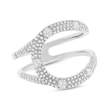 Cocktail Right Hand Statement Curve Ring Womens 0.57Ct 14K White Gold Diamond