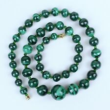 Green Malachite Necklace Natural Malachite Stone Graduated Lariat Malakite Beads