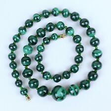 Green Malachite Necklace Natural Malachite Stone Graduated Lariat Malakite Beads