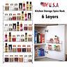 6 Tiers Spice Rack Organizer Wall Mount Door Storage Kitchen Shelf Pantry Holder