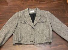 Pendleton Cropped Jacket Blazer Coat Gray Black Wool Tweed Womens 8 Petite