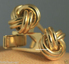 15mm LOVE KNOT Italian Solid 14K Yellow Gold Cuff Links 9.47g HEAVY Quality$1995