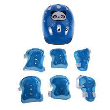 7pcs Kid Child Roller Skating Bicycle Helmet Knee Wrist Guard Elbow Pad-Blue