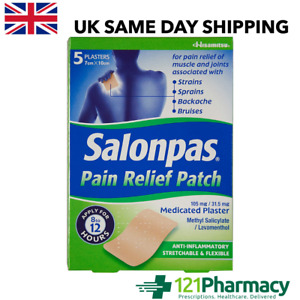 SALONPAS Pain Relief Patch - 5 Plasters LARGEST MEDICATED 8-12 hours RELIEF