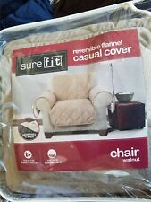 Sure fit Reversible Flannel Quilted Cable/Sherpa Chair sure fit Walnut tan