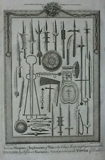 Original antique print MEDIEVAL WEAPONS, WEAPONRY, BOSWELL 1786