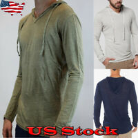 Men's Summer Slim Fit Hoodies Long Sleeve Tee T-shirt Casual Tops Hooded Blouse