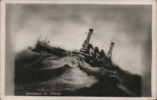 WWI RPPC Postcard - Battleship Vermont In A Storm PC23