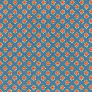 Textiles français ANTIBES - Blue & Orange Yellow Provençal fabric 100% Cotton