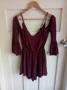 Some Days Lovin Maroon Long Sleeve Split Women's Playsuit Romper Lace Up Back XS