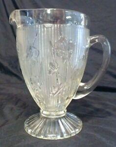 VINTAGE JEANNETTE CLEAR GLASS IRIS HERRING BONE DESIGN PITCHER 6 CUP, USA MINT