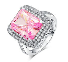 Woman Pink Sapphire Birthstone 14KT Gold Filled Wedding Bridal Ring Gift Size 10