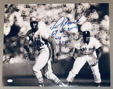 Lou Brock Autograph St. Louis Cardinals Signed 16x20 B&W Baseball Photo JSA COA
