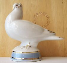 Gzhel Russia WHITE DOVE Mini Porcelain Bird Figurine BLUE LUSTER BASE; GOLD TRIM