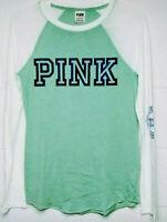 Victoria Secret PINK Long Sleeve Shirt XS Tee Crew Green Blue Logo NWT