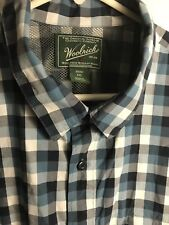 XL Woolrich Blue/white Button Front Shirt With Back Air Vents