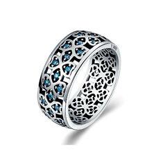 Ring 925 Sterling Silber Damenring Bandring mit Zirkonia Kristall Türkis 55 NEU