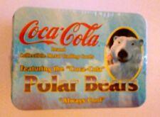 Coca Cola Brand Collector Cards-- Polar Bears Metal Cards in Tin) Setof 5 1996