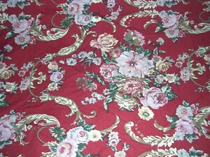 002O Ralph Lauren MARSIELLES FULL FITTED Cotton SHEET Red Floral EUC