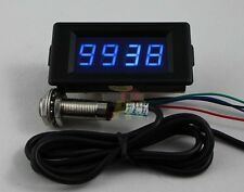 DC12V/24V 4 Digital Blue LED Counter Meter Plus Minus+Hall Proximity Sensor NPN