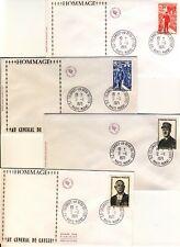 GENERAL DE GAULLE 5 lots de 4 enveloppes pour préparation souvenirs 50ème anniv