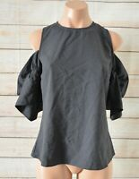 Tussah Tunic Top Blouse Cold Shoulder Size 8 Grey Black Short-sleeved