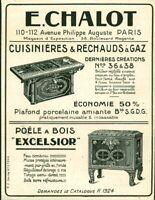 Publicité ancienne cuisinières &réchauds à gaz E. Chalot 1925 issue de magazine