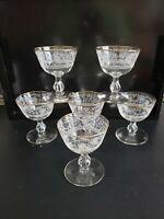 """VINTAGE ELEGANT CRYSTAL ETCHED CHAMPAGNE SHERBET GLASSES SHORT STEMWARE 4 1/4"""" H"""