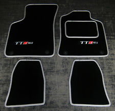Black/Silver SUPER VELOUR Car Mats to fit Audi TT Mk1 (99-06) + TT RS Logos (x2)