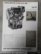 ORIGINAL PROSPEKT DDR 1972 DIESELMOTOR CUNEWALDE 3 NVD 14,5  SRL 28 PS