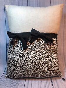 Laura Ashley Lifestyles Decorator Pillow Rectangular Black Ivory Bows App 12x15