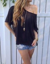 Women Casual Cotton Blouse Short Sleeve Shirt T-shirt Summer Blouse Tops M