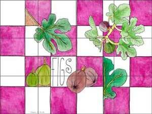 Fruit Tile Backsplash Ceramic Mural Miller Fig Kitchen Art POV-MM005