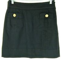 Juicy Couture Women's Wool Skirt Size 2 Black Gold Buttons Side Zip Silk Lining