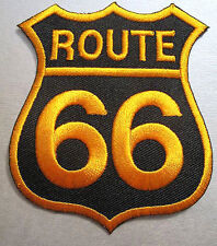Iron On/ Sew On Embroidered Patch Badge Route 66 USA Highway Black/ Gold