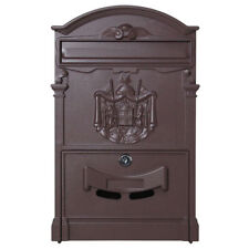 Vintage Retro Cast Iron Wall Mount Mailbox Mail Postal Letter Box W/ Lock & Keys