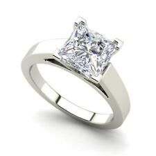 Cathedral 2 Carat SI1/D Princess Cut Diamond Engagement Ring White Gold