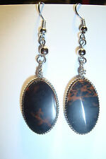 Peruvian Alpaca Silver & Mahogany Obsidian  Gemstone Drop Earrings~OP162~seller